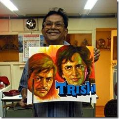 Bollywood artist, Balkrishn, with his Zaishu panel