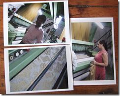 Sara Thorn working with weaving studio in India