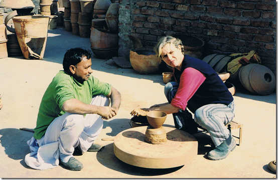 Giri Raj with Sandra Bowkett in the Delhi Potter's Village, 2002