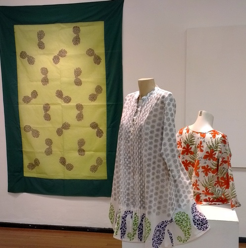 Deborah Emmett's textiles with flowing block prints