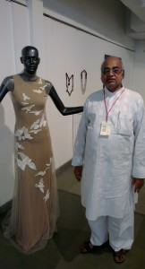 Ashoke Ladiwal with the finished piece at the Jugalbandi exhibition