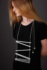 Katheryn Leopoldseder - Venetian Blind Tragedy, necklace (aluminium, silk, enamel paint, stirling silver, 2013)
