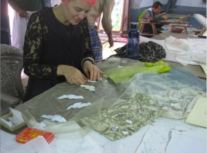Michelle Jank at work in Ashok's studio, photo by Robyn Beeche