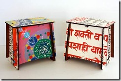 Zaishu seat / table with Rangoli pattern (left) Indian Sanskrit (right)