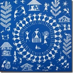 Warli tribal art depicting a wedding scene.