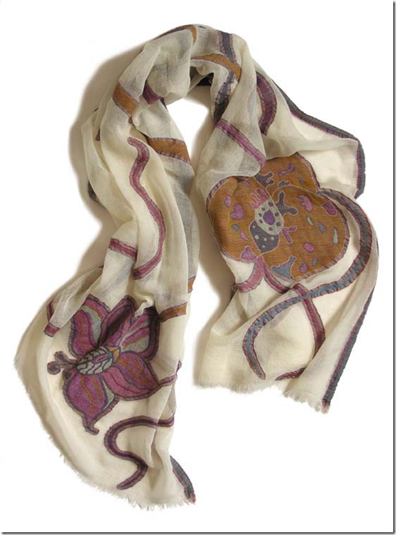 Sara Thorn, Orchid-jacquard scarf designs in wool/cotton made in India
