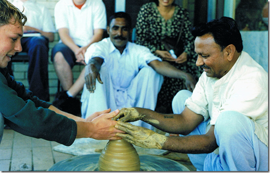 Mahonar Lal and Giri Raj with students of Broadford High, 2003