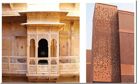 Left: Traditional Jharokha in Rajasthan built with stone, and Right showing a reinterpreted Jharokha made with GRC and abstract ornamentation