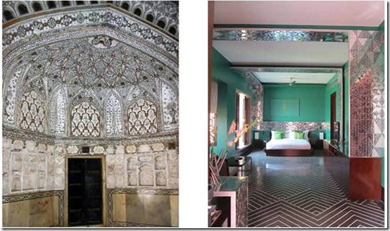 Left: Traditional usage of mirror work in Palaces of Rajasthan, and Right showing a reinterpreted usage of the mirror work as panels in the Suites of Devi Ratn.