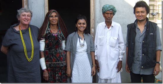 Marian Hosking with Babera-Benn and staff of Kala Raksha in Sumrasar Sheikh village