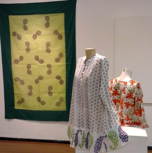 Deborah Emmett's textiles with flowing block prints