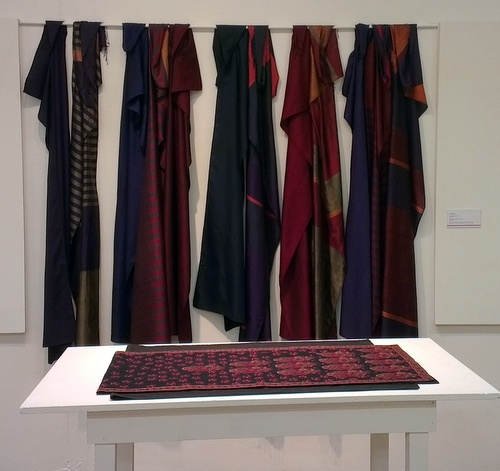 Liz Williamson 'woven in Asia' scarves with richly dense kanthar stitch