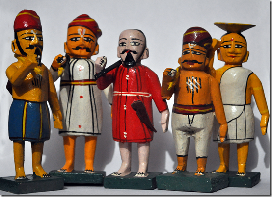 Kondapalli wooden figures representing ordinary people