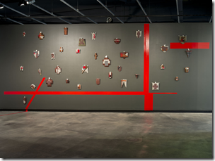 Pat Hoffie (collaboration with Veronica Sepulveda), Ideology and artefact #2  2012. Installation view: 'Mythopoetic: Women artists from Australia and India', Griffith University Art Gallery, Brisbane. Image courtesy and (c) the artist. Photography: Carl Warner. (work made for the Kochi Biennale, 2012)