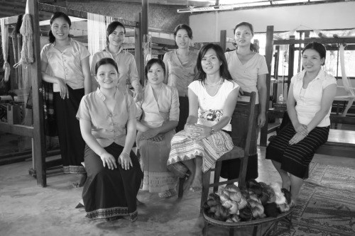 Samorn Sanixay with weavers in her Laos workshop